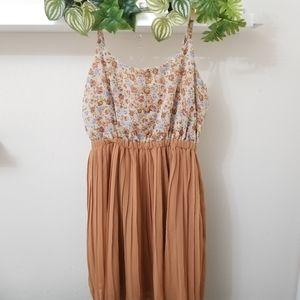 Flowy Floral Tan dress